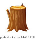 Tree, wooden stump with rings and roots 44413118