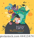 Cute girl with funny monsters. Halloween party 44413474