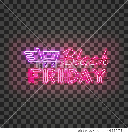 BLACK FRIDAY red neon sign with purple shopping cart 44413754