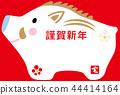 2019 년 돼지해 연하장 템플릿 모형 인형 빨간색 배경 가로 44414164