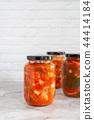 homemade radish kimchi in a glass jar 44414184