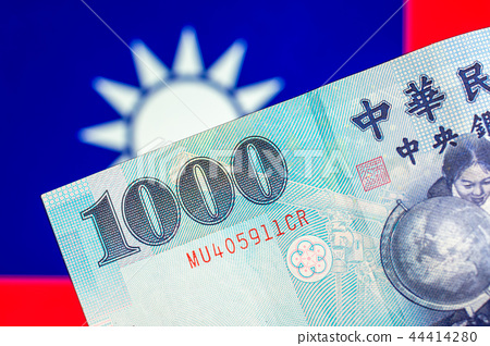 Taiwan currency notes , currency, Taiwan flag. 44414280