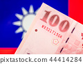 Taiwan currency notes , currency, Taiwan flag. 44414284
