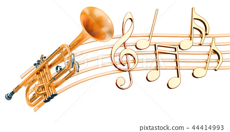 Trumpet with music notes. Musical concept 44414993