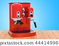 Red coffeemaker or coffee machine retro design 44414996