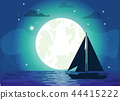Silhouette of Ship with Moon Vector Illustration 44415222