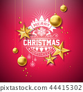 Merry Christmas Illustration with Gold Glass Ball, Star and Typography Elements on Red Background 44415302