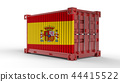 3d shipping cargo container with Spain Flag 44415522