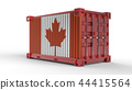 3d shipping cargo container with canada flag 44415564