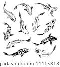 Set of Koi carps, japanese fish. korean animals. Engraved hand drawn line art Vintage tattoo 44415818
