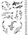 Set of Koi carps, japanese fish. korean animals. Engraved hand drawn line art Vintage tattoo 44415821