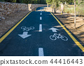 Bicycle sign on the road used for pedestrian cross 44416443