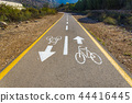Bicycle sign on the road used for pedestrian cross 44416445
