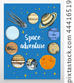 card planets in solar system and astronaut spaceman. moon and the sun, mercury and earth, mars and 44416519