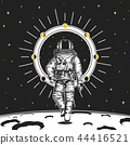 astronaut spaceman cards. Moon phases planets in solar system. astronomical galaxy space. cosmonaut 44416521