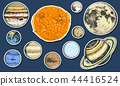 planets in solar system. moon and the sun, mercury and earth, mars and venus, jupiter or saturn and 44416524