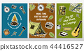 Set of camping cards. poster or print template. outdoor adventure and hiking. Traveling, tourism 44416527