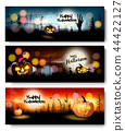 Set of Holiday Halloween banners with pumpkins 44422127