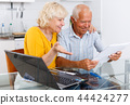 Smiling senior man and woman with financial documents 44424277