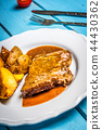 Grilled pork steak and fried potatoes 44430362