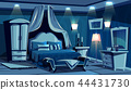 Bedroom in night with vector lamps light 44431730