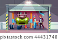 Car garage mechanic and client vector interior 44431748