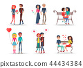 Set of Smiling Couples in Love on White Background 44434384
