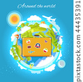 Around the World Color Card Vector Illustration 44435391