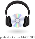 Black headphones CD disc 44436283