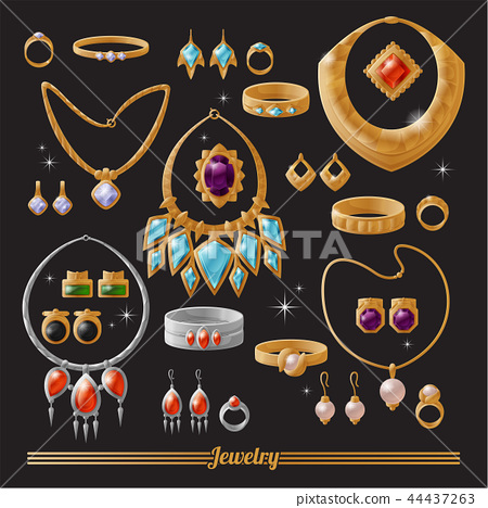 Expensive Luxurious Gold and Silver Jewelry Set 44437263