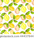 Seamless citrus pattern. Hand drawn sketched lemons and citrons print. Textile, wallpaper and craft 44437644