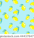 Seamless citrus pattern. Hand drawn sketched lemons print. Textile, wallpaper and craft paper design 44437647