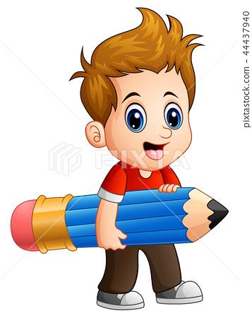 Little boy holding a big pencil 44437940