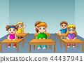 School kids studying in classroom 44437941