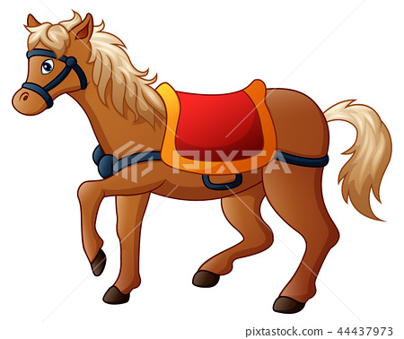 Vector illustration of Cartoon horse with saddle 44437973