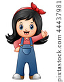 Little girl in blue overalls 44437981
