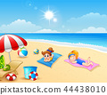 Two girl sunbathing on the beach mat 44438010