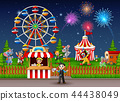 Amusement park landscape at night with fireworks 44438049
