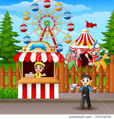 People working at the amusement park 44438056