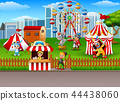 People and animals working at the amusement park 44438060