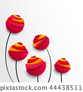 Five abstract paper flowers in bright juicy colors 44438511