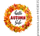 Banner with text hello autumn sale 44438535