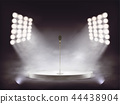 realistic stage with microphone and smoke 44438904