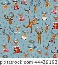 Cute reindeer flat seamless pattern.  44439193