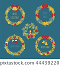 Christmas wreath, decoration elements set 44439220