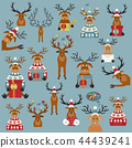 Cute reindeer sticker icon set. Elements christmas 44439241
