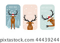 Cute reindeer sticker icon set. Elements christmas 44439244