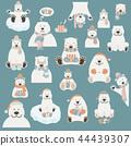 Cute polar bear sticker set. Elements  44439307