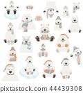 Cute polar bear sticker set. Elements  44439308