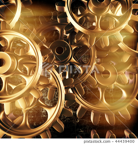 Gold gears and cogs macro 44439400